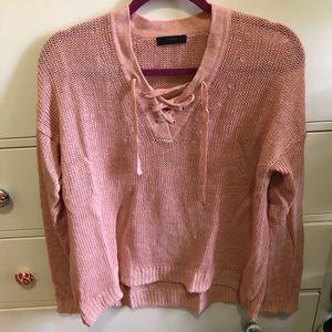 Pink J. Crew linen sweater with tie detail